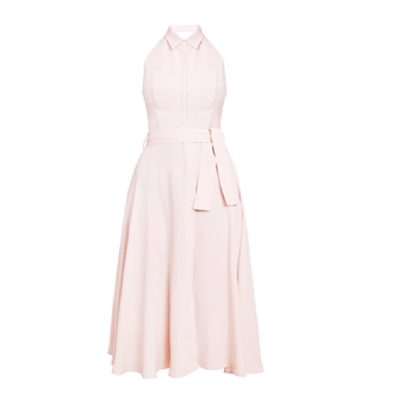 26e2327aa211 Duende Light Rose Open Back Midi Shirt Dress