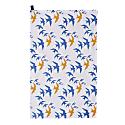 Flock Cotton Tea Towel - Blue & Ochre Swallow Print On White image