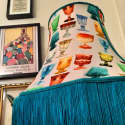 Multi Coloured Glasses Print Lampshade with Teal Fringe  image