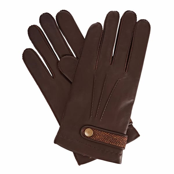 GIZELLE RENEE Alfie Brown Leather Gloves With Brown Tweed