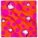 Kalighat Cat Silk Scarf Pink & Orange image