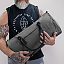 Gym Duffle In Grey Canvas & Black Leather image