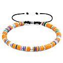Orange Kivu Silver & Vinyl Disc Macrame Bracelet image