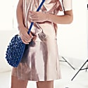 Parker Metallic Leather Skirt Pink Tinsel image