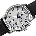 Bruno Magli Mens Dante 1002 Swiss Chronograph Quartz Italian Leather Strap Watch Silver image