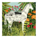 Cashmere Silk White Horse Scarf image