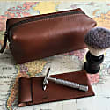 Classic Tan Leather Shaving Bag image