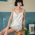 Classic Face Line Art Printed Silk Dress - White image
