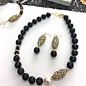 Tiger Eye With Rhinestones Bordered Pearls Dangle Earrings image