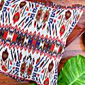 Aztec Large Cotton & Faux Leather Cushion image