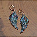 Angel Wing Drop Earring Rosegold Turquoise Blue image