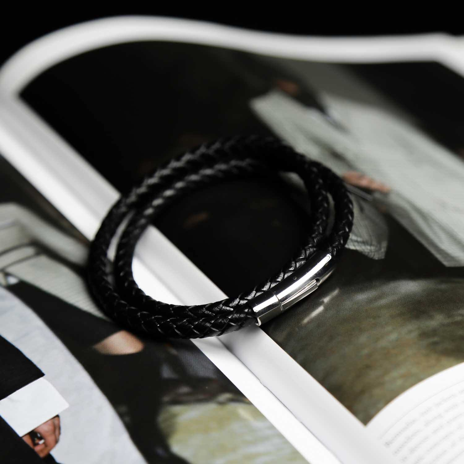 Details about  /Fine Leather Bracelet Braided Wide Calf Stainless Steel Men/'s Black Silver