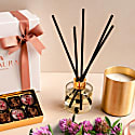 Luxury Candle & Diffuser Gift Set In Allure - Patchouli, Ylang-Ylang & Magnolia Blossom In Gold image