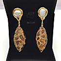 Freshwater Pearls & Rhinestones Bordered Tiger Eyes Drop Earrings image
