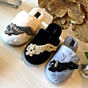 Closed Toe Black Fluffy Slippers With Gold Panther image