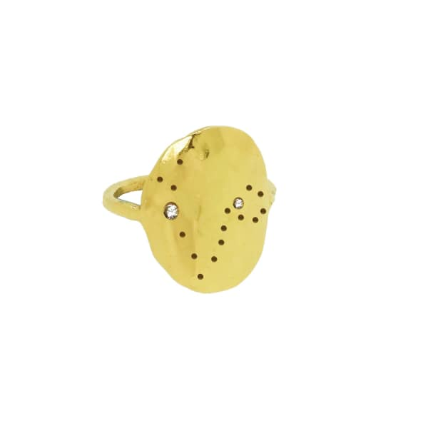 YVONNE HENDERSON JEWELLERY Pisces Constellation Ring With White Sapphires Gold