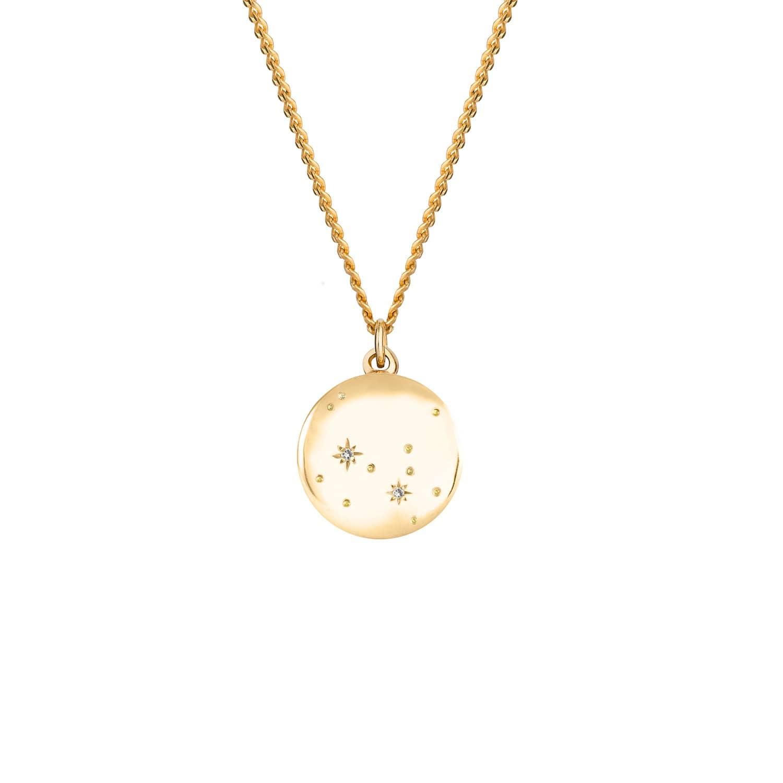 Sagittarius Zodiac Constellation Necklace Yellow Gold & Diamonds by No 13