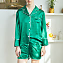 Women'S 3-Piece Classic Silk Pajamas Set - Green image