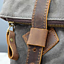 Fold Top Zip Front Waxed Canvas Backpack In Green image