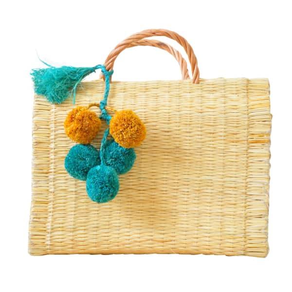 SOI 55 Portuguese Basket Bag Natural with Raffia Pom-Pom
