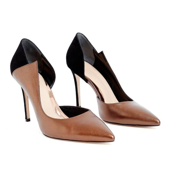 Sculpture Bronze Leather Pointed Toe Heels