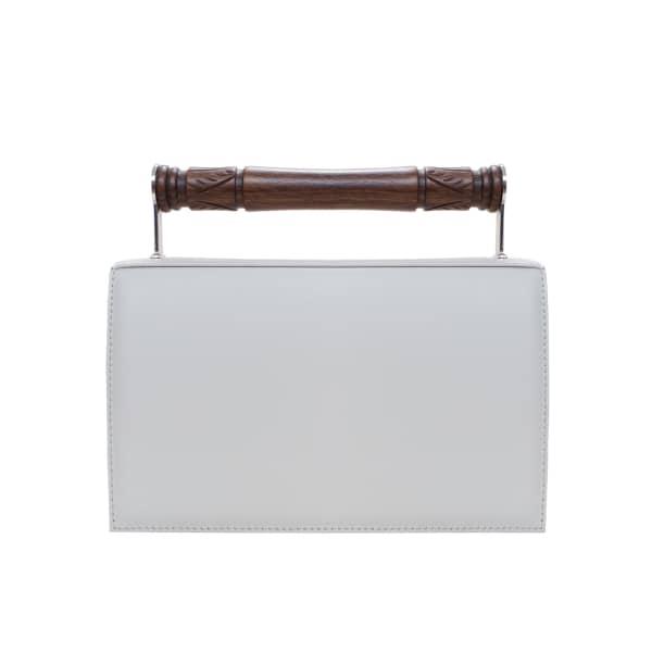 AEVHA LONDON Helve Clutch In Dove With Wooden Handle