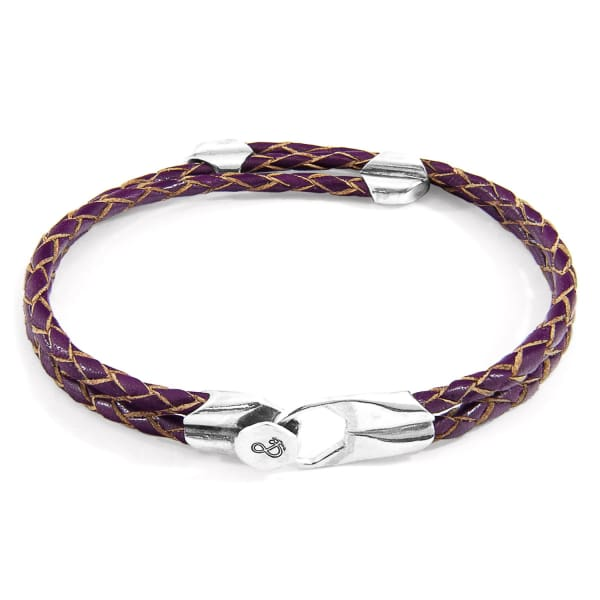 ANCHOR & CREW Deep Purple Conway Silver & Braided Leather Bracelet