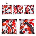 Koi I Style 1 Red & White Velvet Cushion  image
