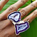 Silver Ink Gemstone Mega Statement Ring image