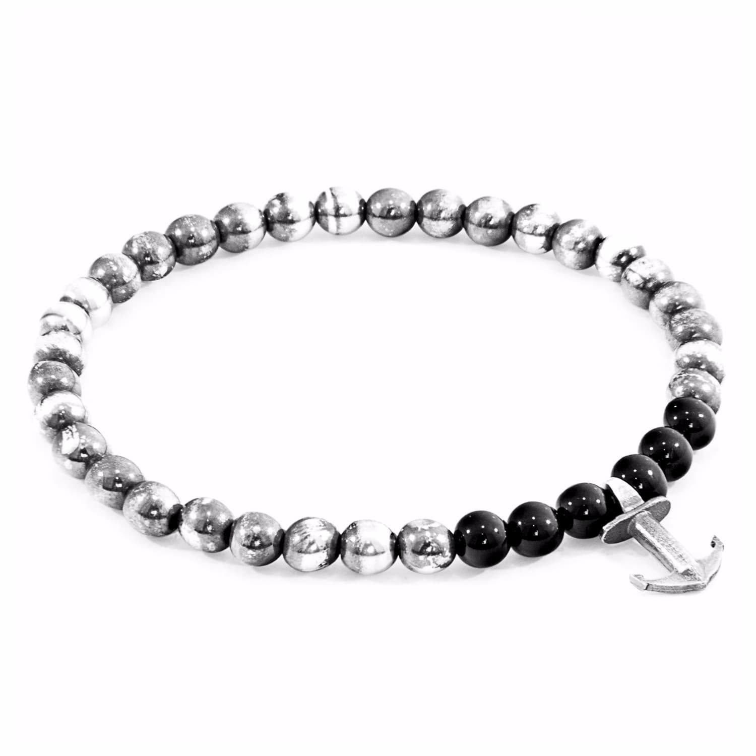 Anchor & Crew Black Onyx Port Silver And Stone Bracelet - 21cm 5XUBEKd