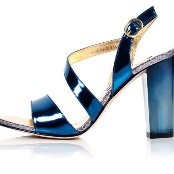 KIM KWANG Metallic Effect Timeless Classic Sandals Blue