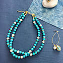 Turquoise & Freshwater Pearls Double Strands Necklace image