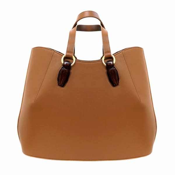AEVHA LONDON Garnet Tote In Tan With Wooden Hardware