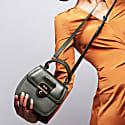 Grace Kale Green Top Handle Handbag With Interchangeable Oxblood Braided Handle image