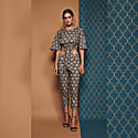 Finlay Straight Leg Baroque Print Cropped Trousers image