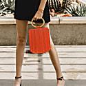 Water Metal Handle Bucket Bag - Orange image