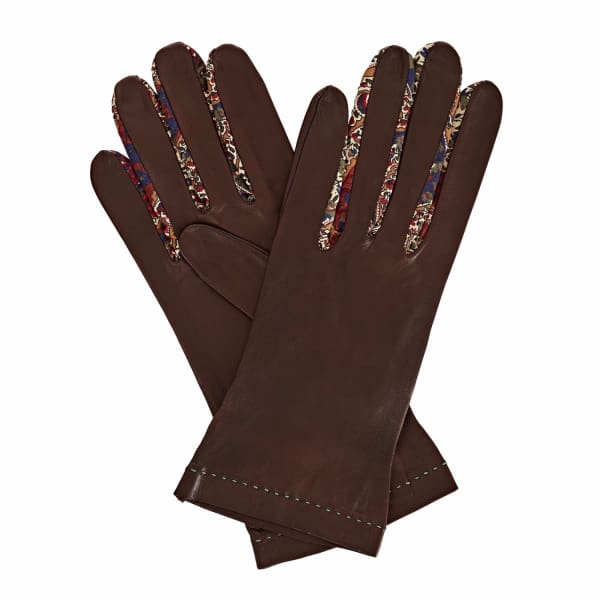 GIZELLE RENEE Philomena Dark Brown Leather Gloves With BM Liberty Tana Lawn