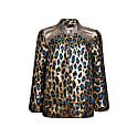 Luna Leopard Print & Leather Bomber Gold image