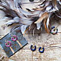Tribal Collection Fringed Branded Sapphire Earrings image