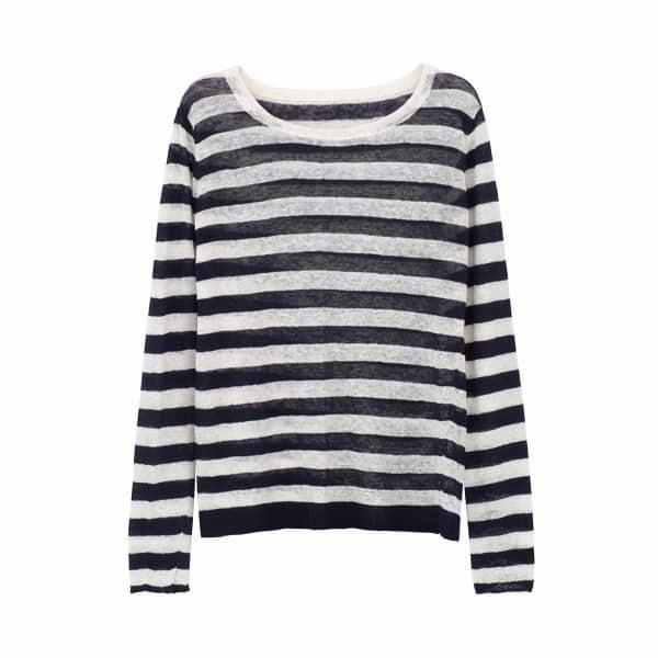 ILLE DE COCOS Linen Gauze Stripe Sweater Navy & White