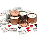 Handmade Natural Wax Candle - French Bulldog Design Large Silver Tin With Geometric Heart & Message image