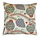 Green Pomegranate Design Silk Suzani Cushion image
