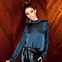 Sasha Navy Washed Silk Tie Neck Blouse Reversible image