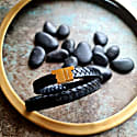 Black Leather Double Wrap Bracelet - Stark Gold image