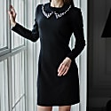 Little Black Dress Removable Collar Embellished With Pearls image