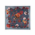 Medium Scarf in Gothic Floral Print Petrol image