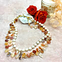 Triple Strand Red Agate & Freshwater Pearls Choker image