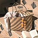 Borneo Sani Stripes Straw Tote Bag - With Marigold Tiered Pom-Poms image
