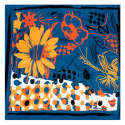 Orange Flowers Summer Medium Square Scarf image