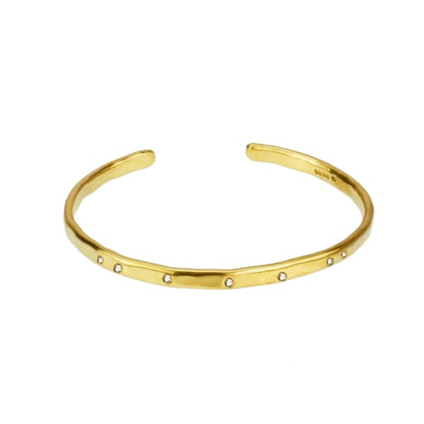 YVONNE HENDERSON JEWELLERY Gold Torque Bangle With White Sapphires